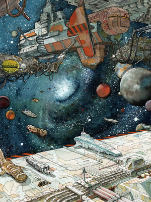 techno art berlin, suicide circus art, heinrich dressen, cosmic force, spaceship painting, spaceship watercolor, gates of space, cosmic art
